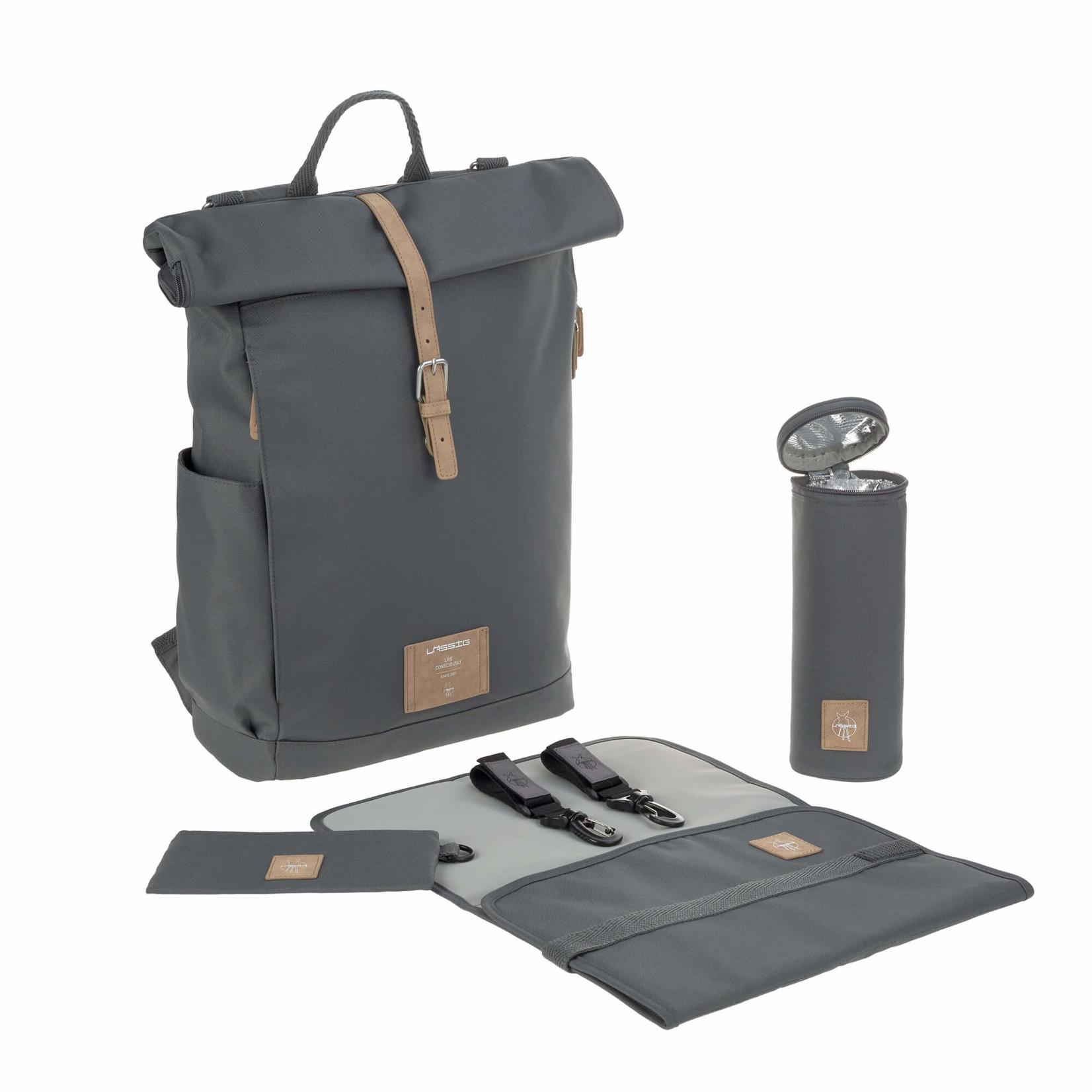 Lässig Fashion Praktischer Wickeltaschen-Rucksack mit Rolltop in Anthrazit