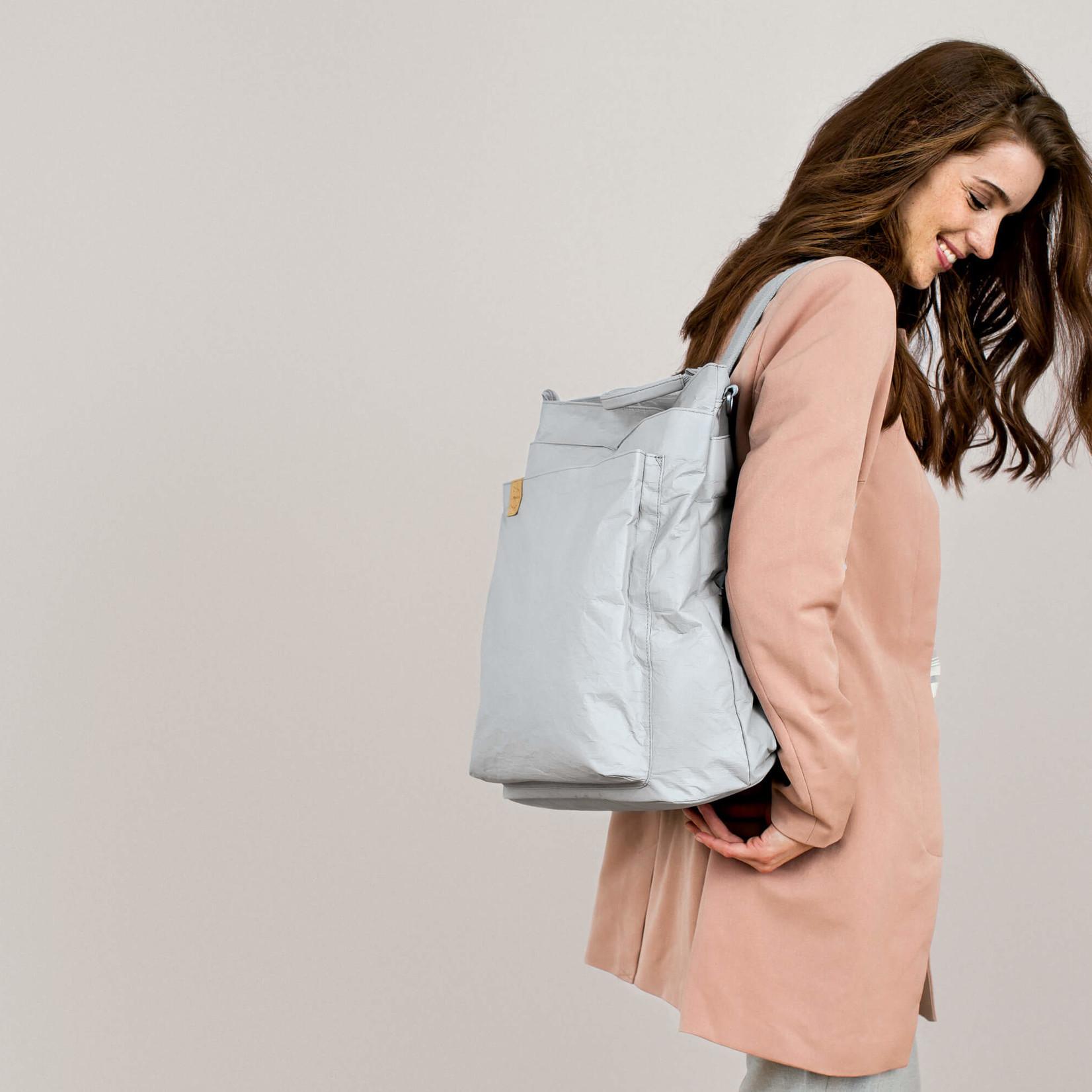Lässig Fashion Praktischer Wickeltaschen-Rucksack in Grau