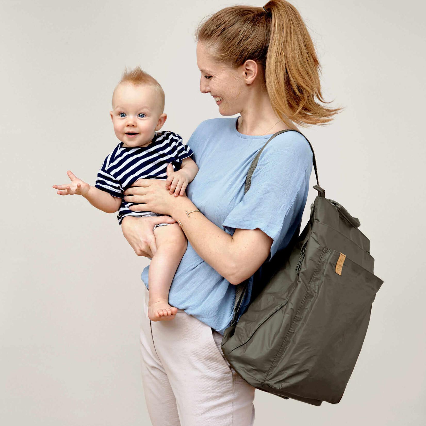 Lässig Fashion Praktischer Wickeltaschen-Rucksack in olivgrün