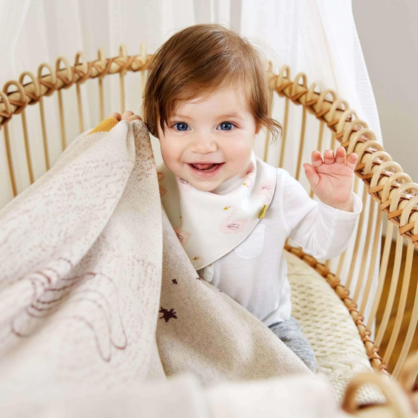 Lässig Fashion Süßes Lätzchen mit Schwan-Motiv | 100 % Baumwolle