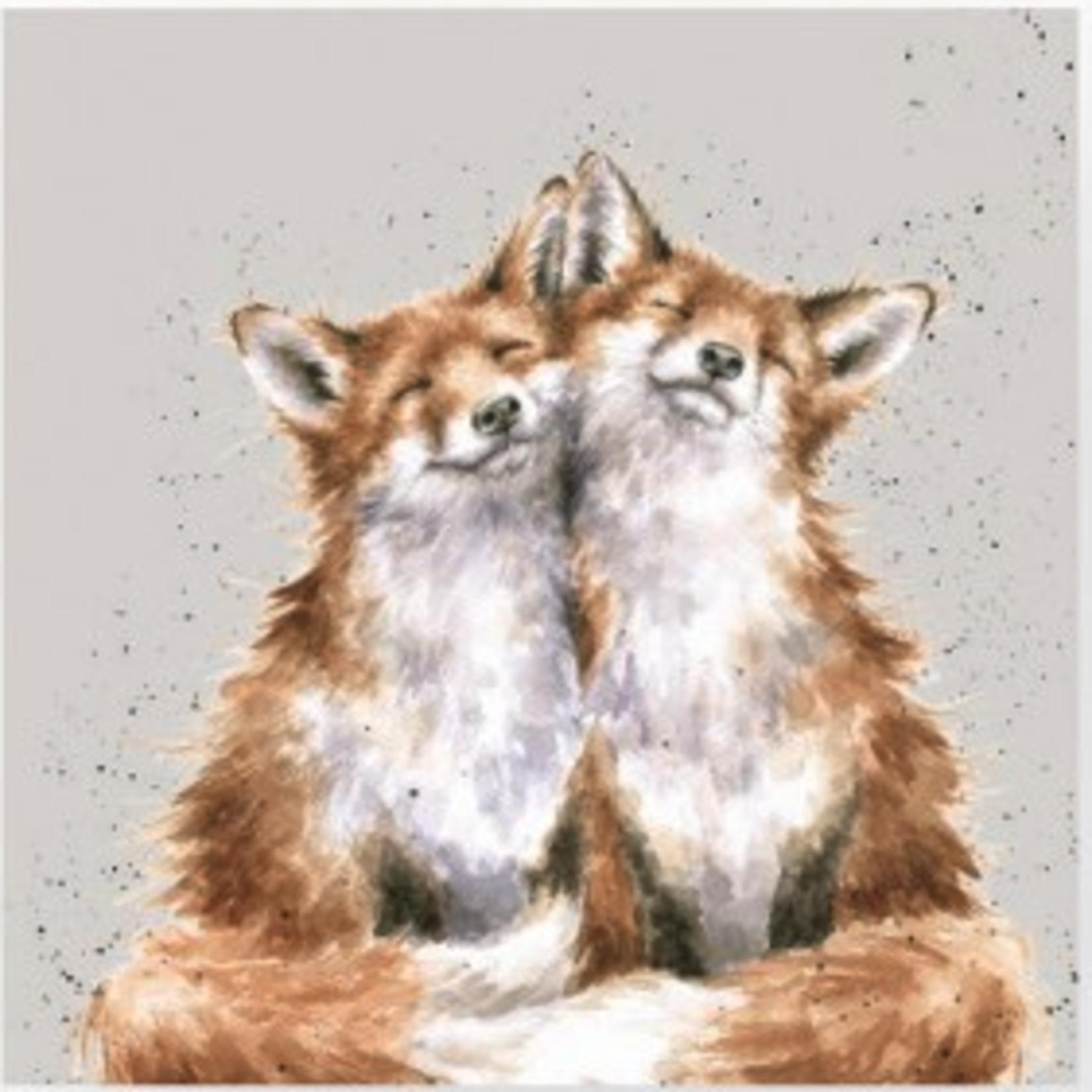 'Contentment' Foxes Napkin - l