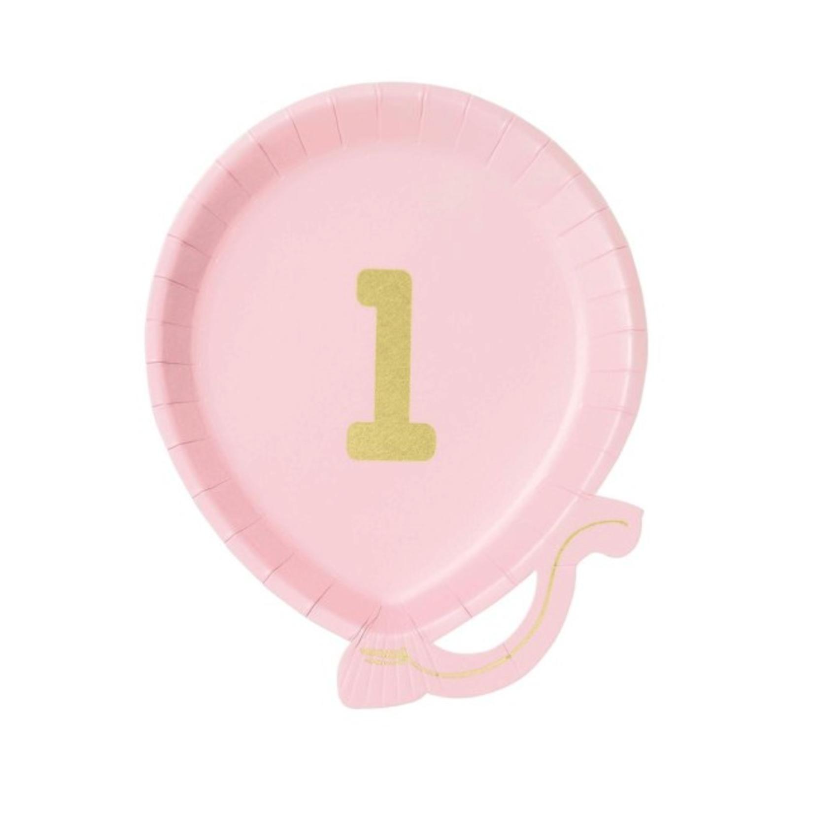 Bday Teller in pink   Nr. 1   12er-Pack