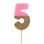 """Talking Tables Kerze """"5"""" in rosa mit Glitter"""