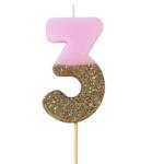 """Talking Tables Glitterkerze """"3"""" in rosa"""