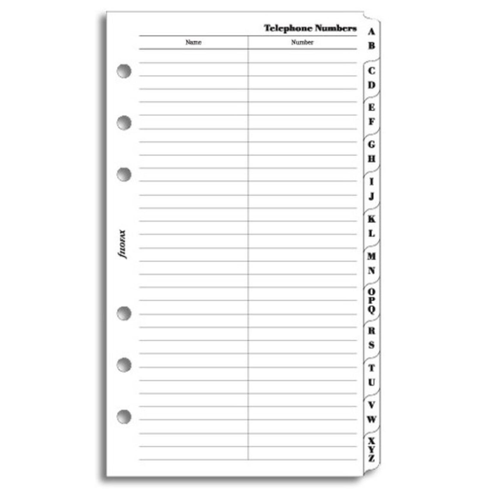 Filofax Filofax Einlage Personal, Slimline Telefonverzeichnis A-Z, 2 Buchstaben, weiß