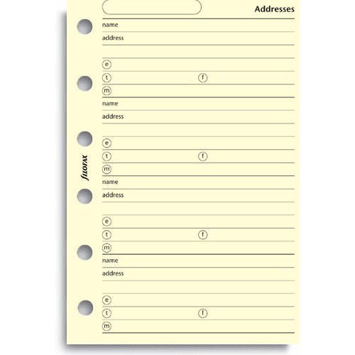 Filofax Filofax Einlage Pocket, Kontakte, cotton cream