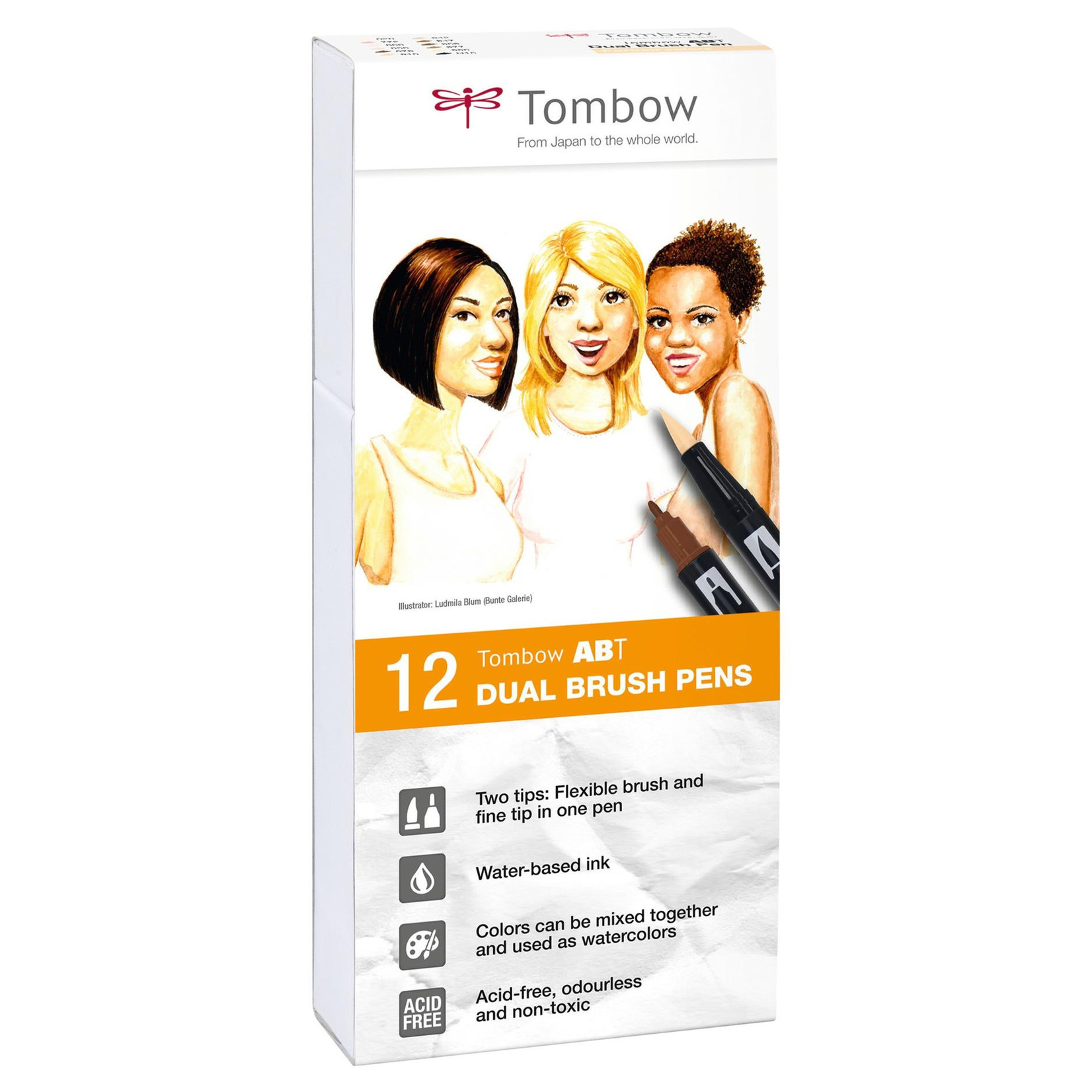 Tombow Dual Brush Pen 12er-Set Portrait Farben
