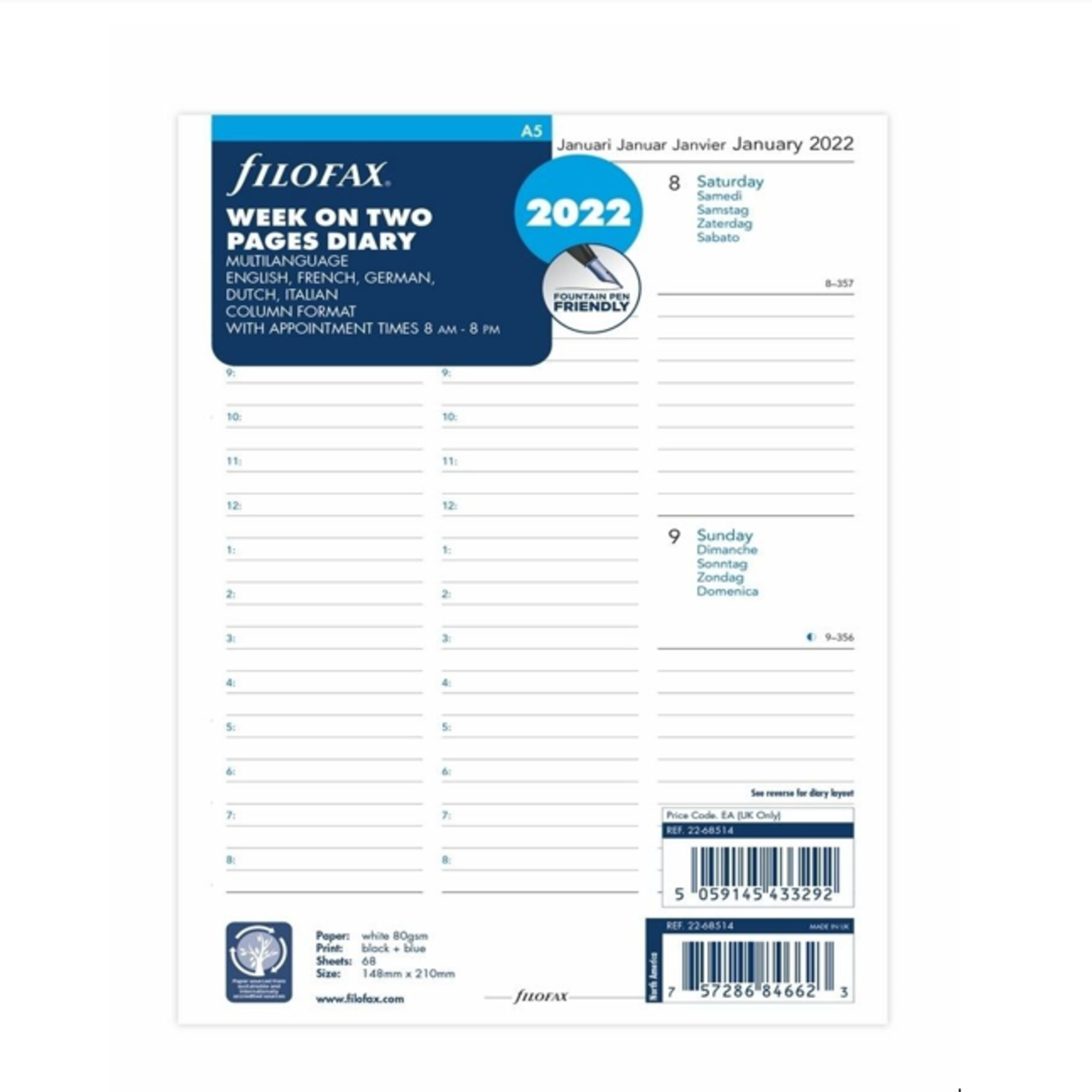 Filofax A5 1W/2S m.Not(M)2022