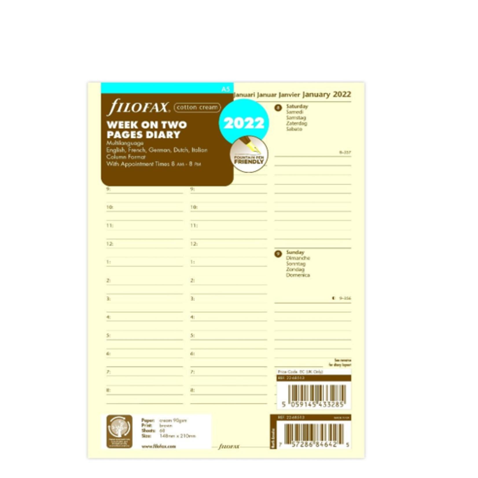 Filofax A5 1W/2S cotton cream (M)2022