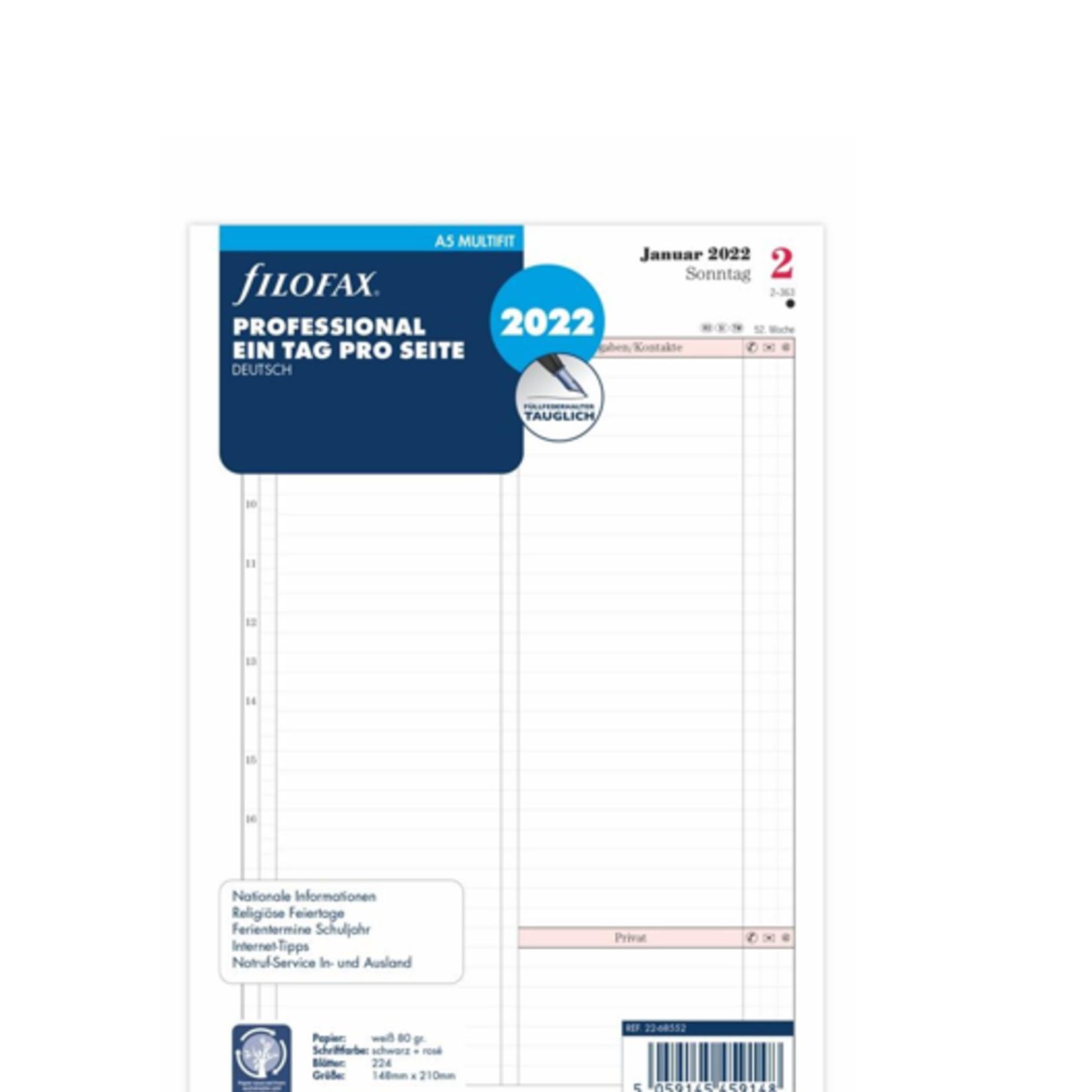 Filofax A5 Prof.1T/1S (D)2022