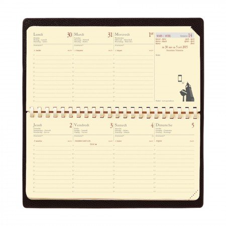 PLANITAL MONTEBELLO LEDER Kalender 8,8x17 rot 1W/2SQ