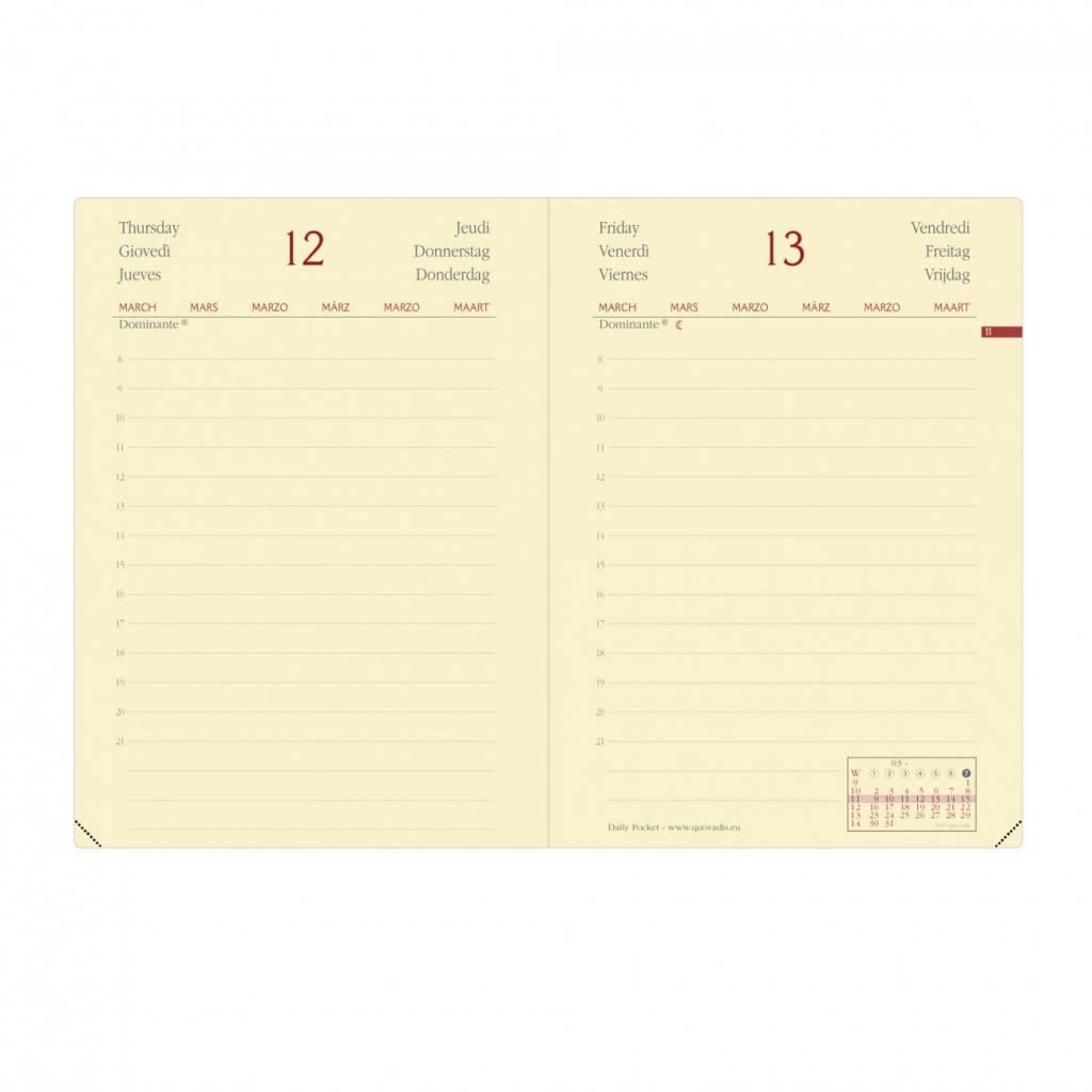DAILY POCKET PRESTIGE HABANA Kalender himbeer A6 1T/1S