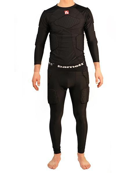 FKS-L Set, Compression T-shirt with long sleeves + Compression pants, 5 Integrated pieces, for American football