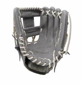 """barnett FL-115 baseballhandske, högkvalitativ, läder, infield / outfield 11 """", ljusgrå"""