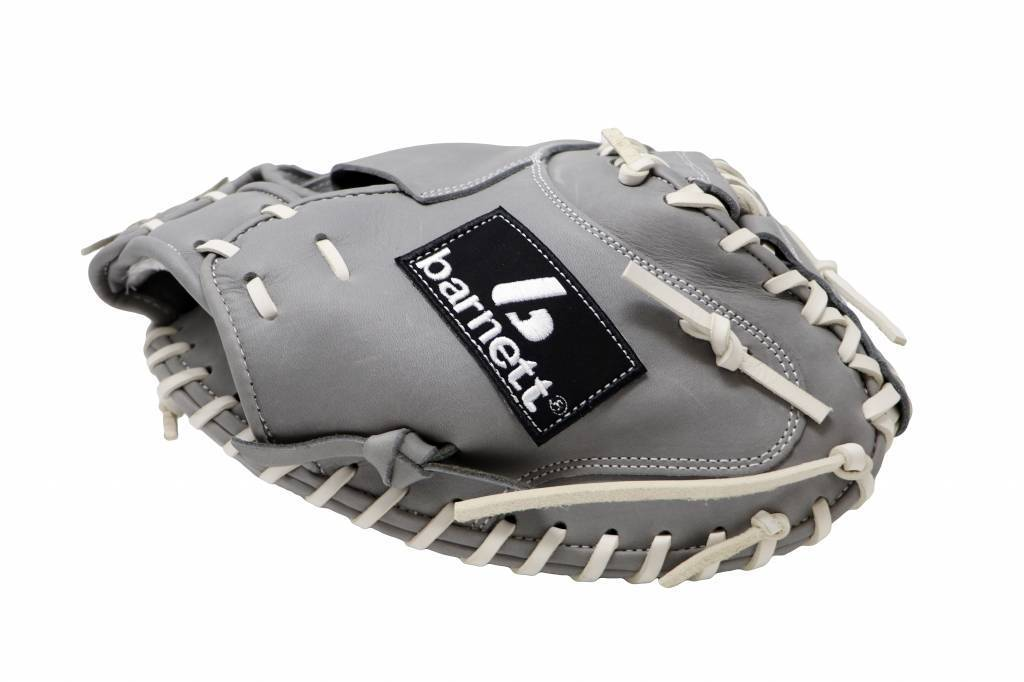"barnett FL-203 "" softball glove, high quality, leather, catcher, light grey"