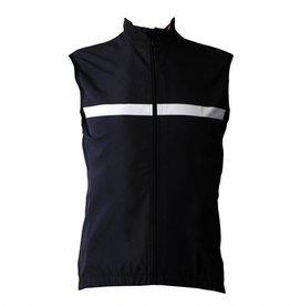 Cykeltextil-vindtät ärmlös tröja, svart & vit