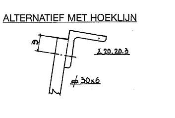 Feyts Hoeklijn met slobgat om de 60 cm lengte 3 mtr (incl 5x tapboutje)