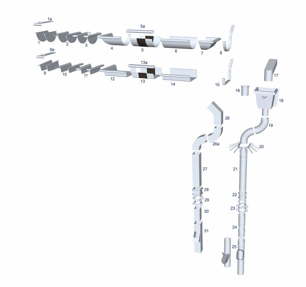 Feyts Schroefstift M8 - 80 mm  voor regenpijpbeugels met draad