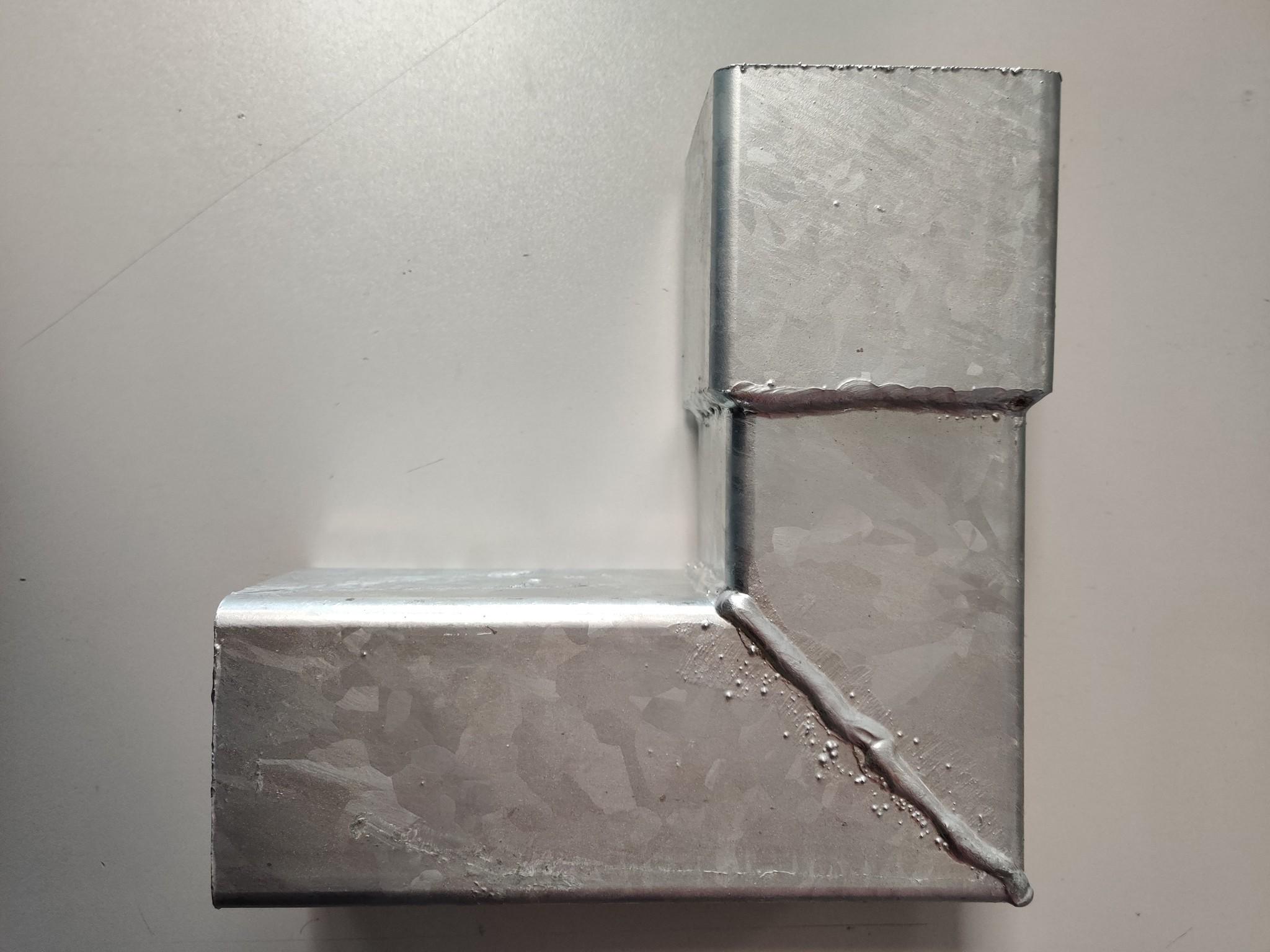 Feyts Staal verzinkte  bocht voor ondereind vierkant 80 x 80 mm - 90 graden