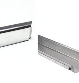 VMZINC zinken goot vierkant 120 mm 0,8 - 3 meter met links ingesoldeerd eindschot of optie uitloop