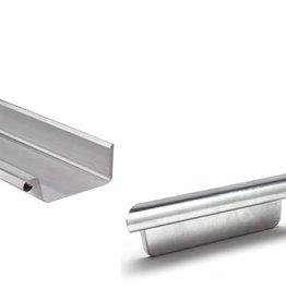 VMZINC zinken goot vierkant 120 mm 0,8 - 3 meter met rechts ingesoldeerd eindschot of optie uitloop
