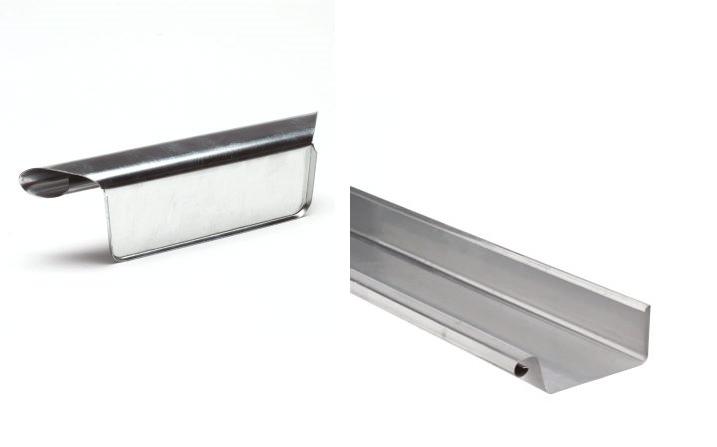 VMZINC zinken goot bak 44 - 3 meter met links ingesoldeerd eindschot of optie uitloop