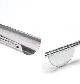 VMZINC zinken goot rond 200 mm 0,8 - 3 meter met rechts ingesoldeerd eindschot of optie uitloop