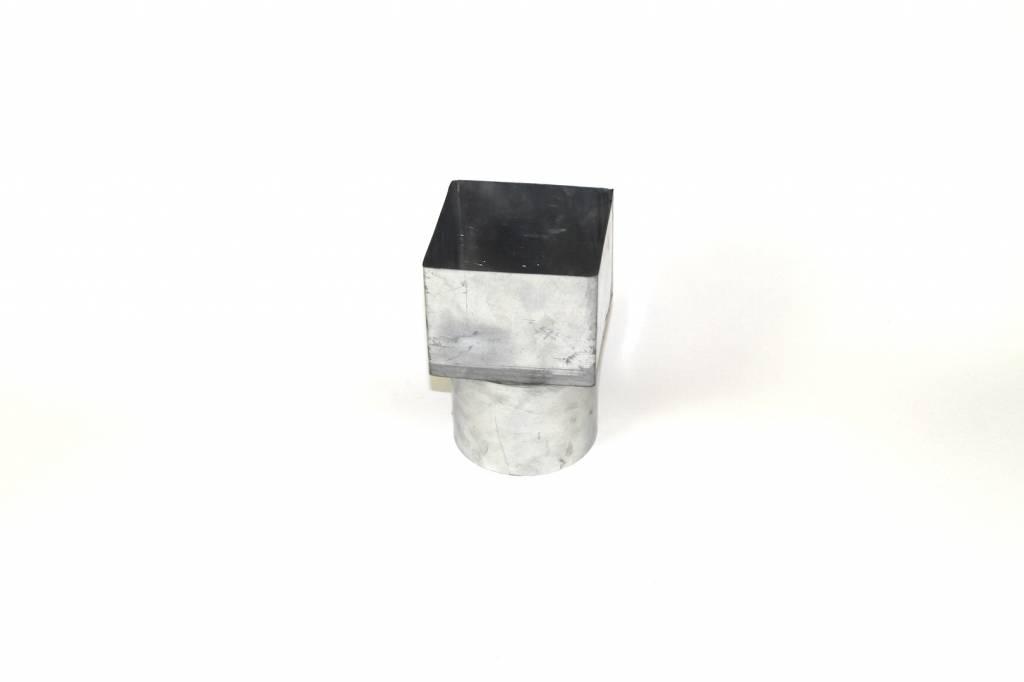 Feyts Zinken verloopstuk vierkant 100x100 - rond 80 mm