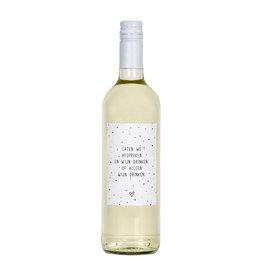 Zoedt Fles etiket met tekst Laten we afspreken en wijn drinken