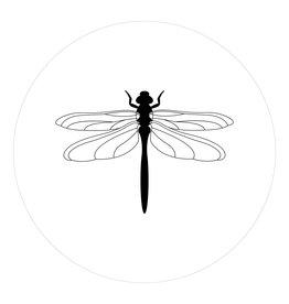 Zoedt Muurcirkel (binnen) wit met Libelle - in 2 formaten