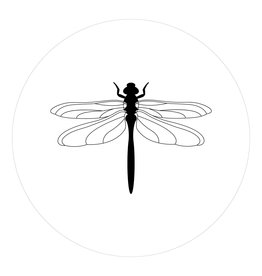 Zoedt Muurcirkel wit met Libelle - in 2 formaten