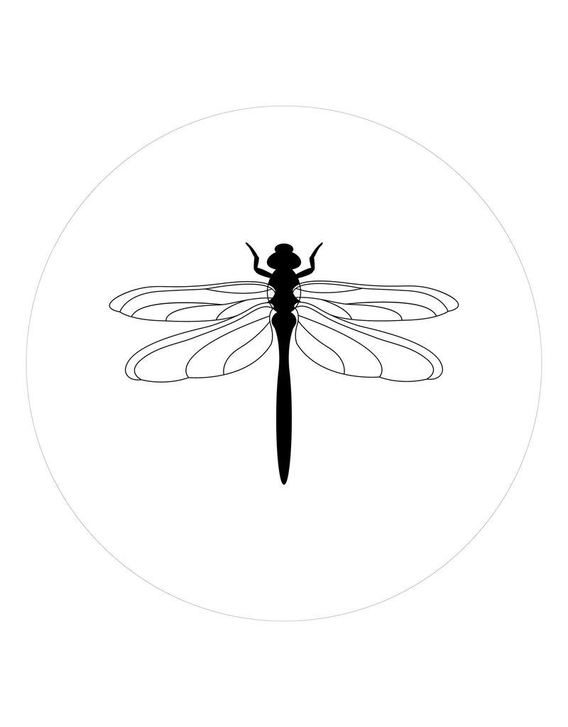 Zoedt Muurcirkel  wit met Libelle voor binnen