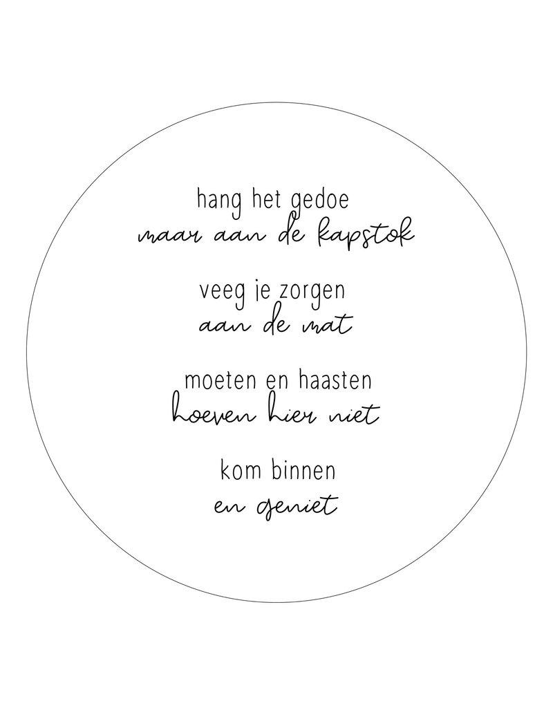 Zoedt Muurcirkel wit met gedicht 'Kom binnen en geniet'