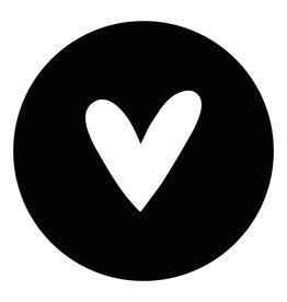 Zoedt Muurcirkel (binnen) zwart met wit hart - in 3 formaten