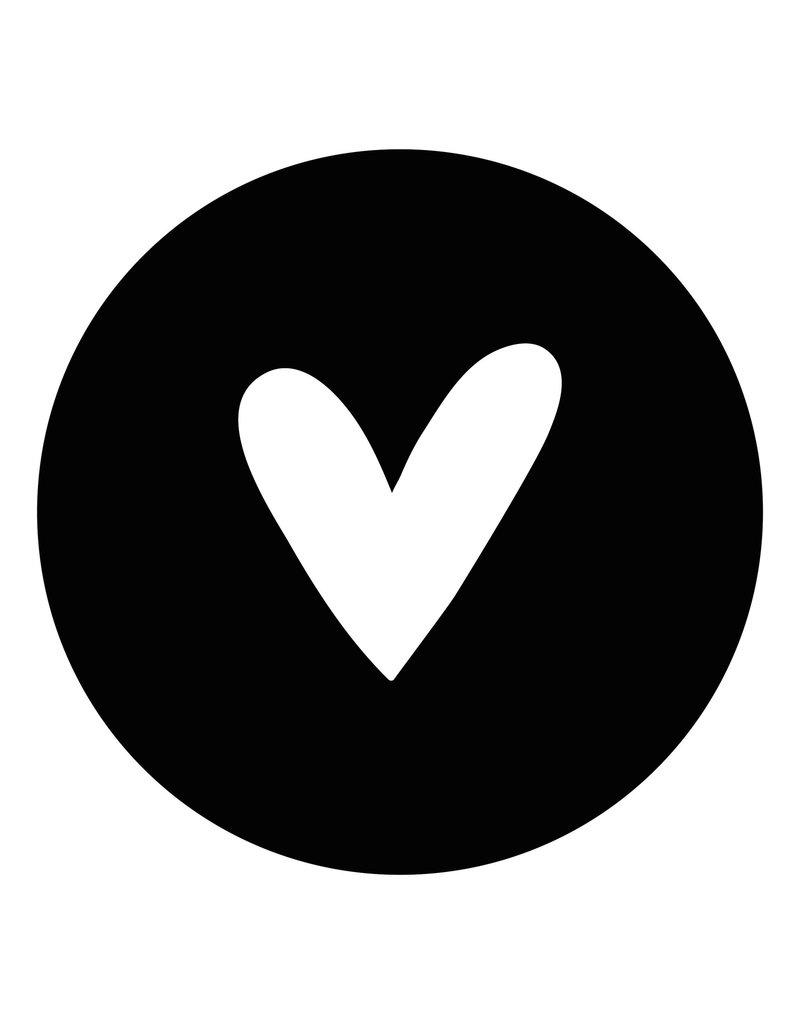 Zoedt Muurcirkel zwart met wit hart  - voor binnen