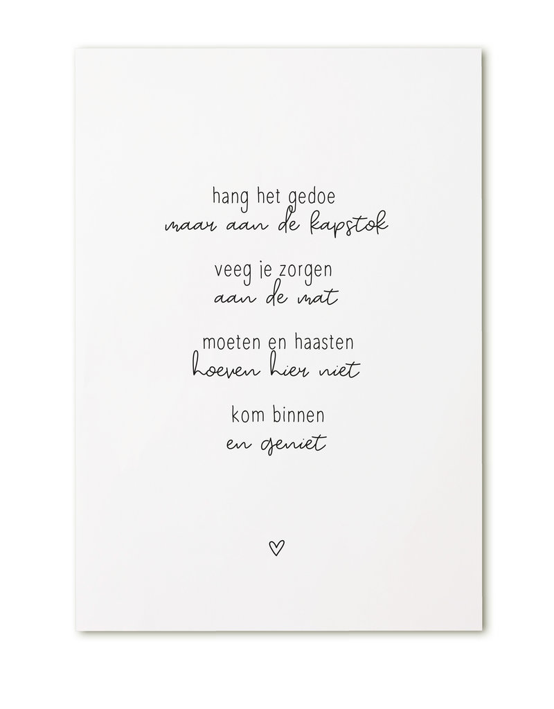 Zoedt Kaart met gedicht 'Kom binnen en geniet..'