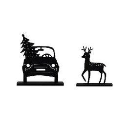 Zoedt Houten kerst set bij grachtenpandjes auto en hert - Bestelbaar vanaf week 40