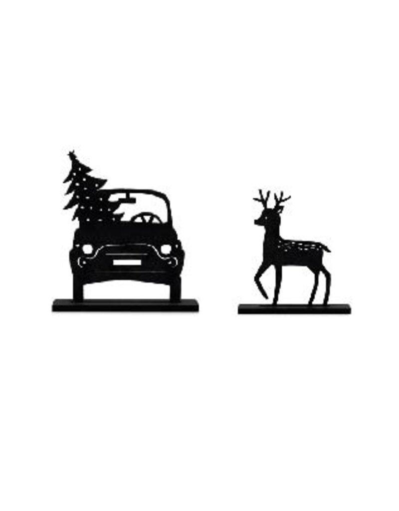 Zoedt Houten kerst set bij grachtenpandjes auto en hert