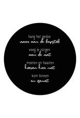 Zoedt Muurcirkel zwart met gedicht 'Kom binnen en geniet'