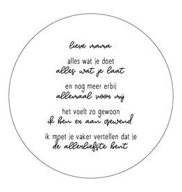 Zoedt Muurcirkel (binnen) wit met gedicht 'Lieve mama..' - 20cm