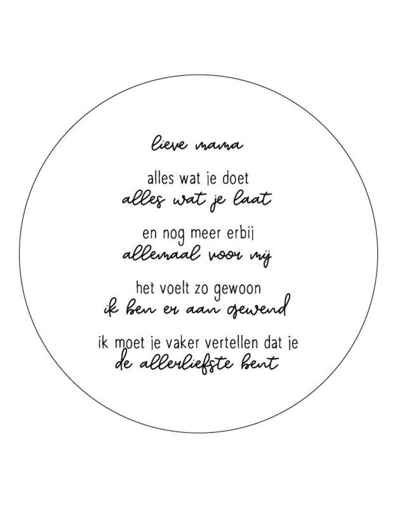 Zoedt Muurcirkel wit met gedicht 'Lieve mama..'