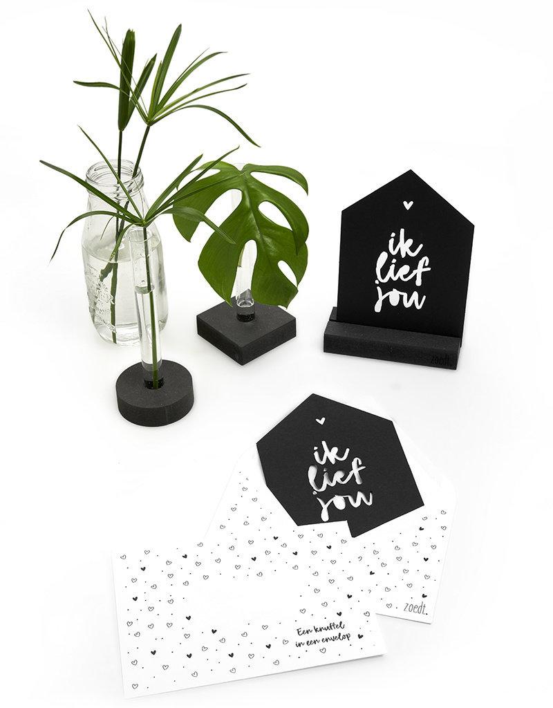 Zoedt Zwarte kaart huisje 'Ik lief jou'  met bedrukte envelop