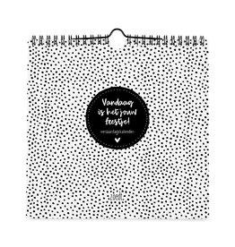 Zoedt Verjaardagskalender zwart wit | vierkant