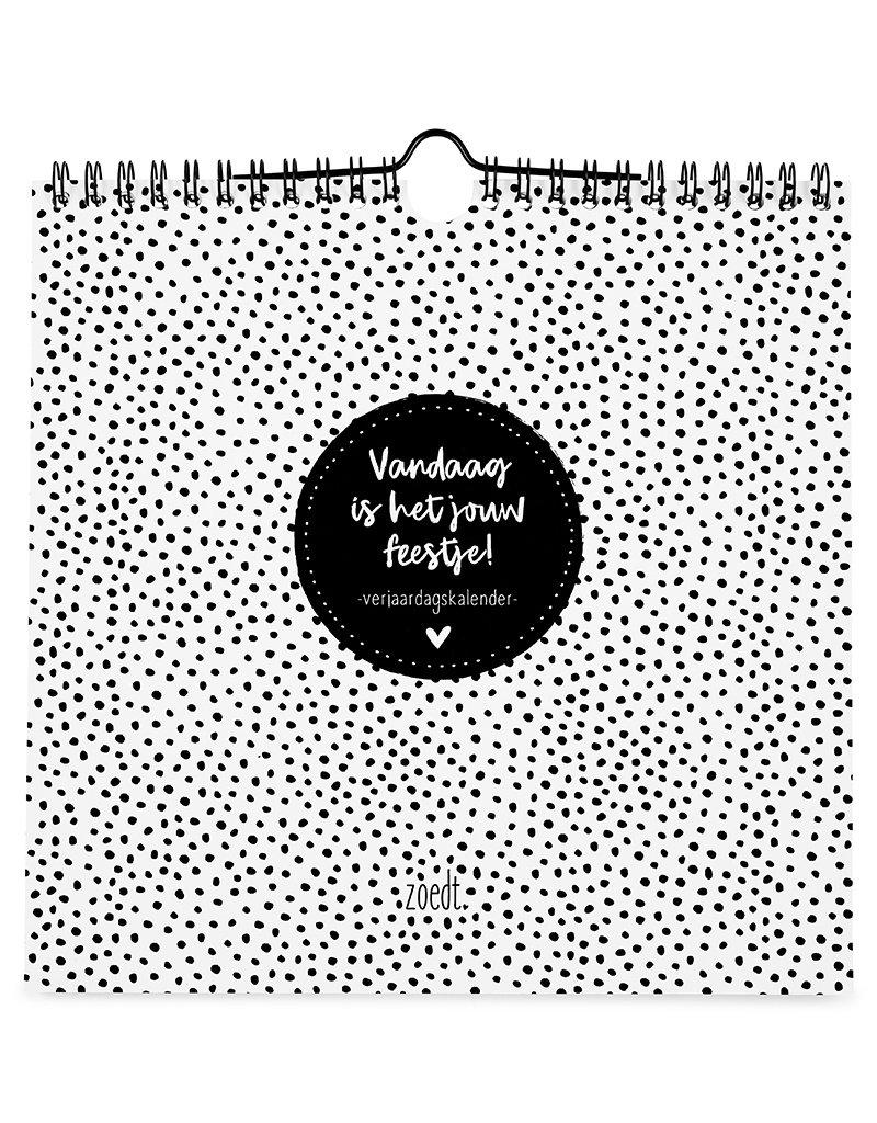 Zoedt Verjaardagskalender zwart wit vierkant