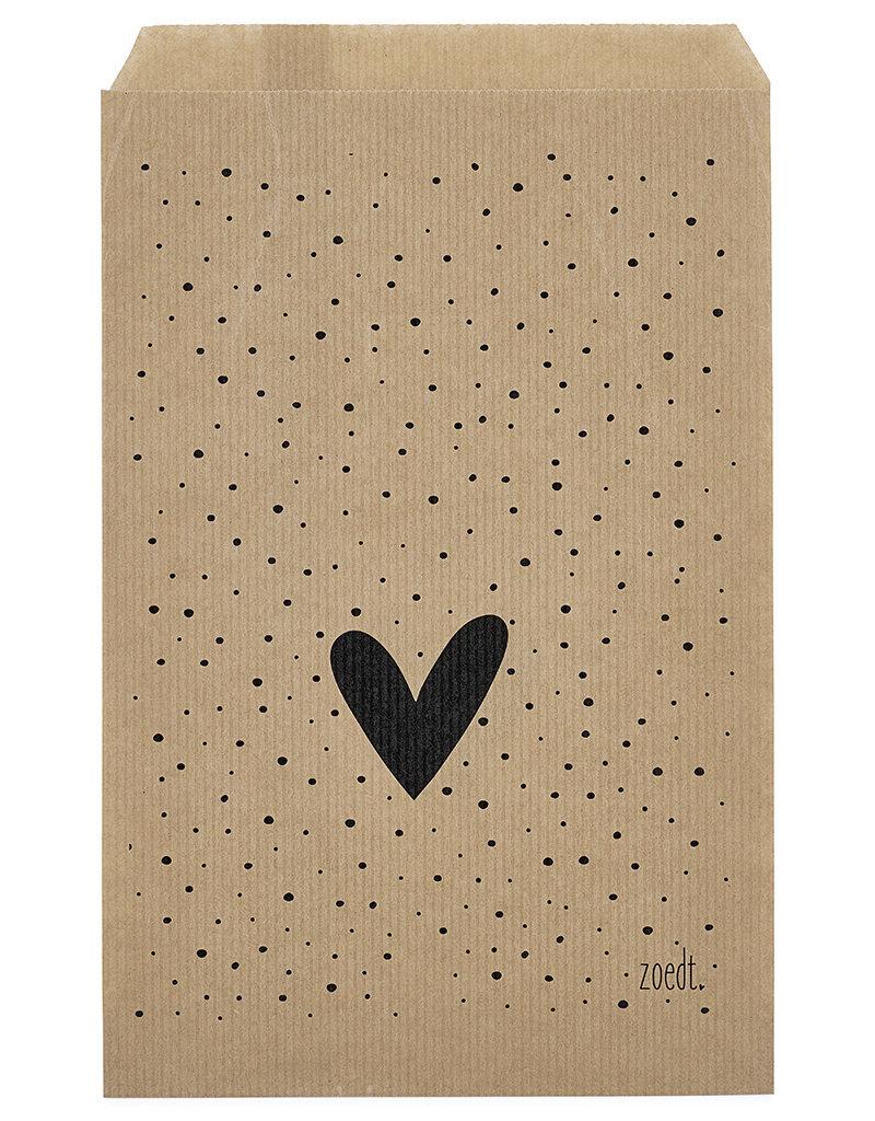 Zoedt Cadeauzakjes set van 5 met dots en hartje 15x22 cm