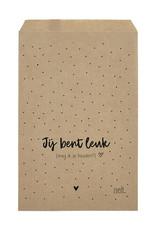 Zoedt Cadeauzakjes set van 5 met dots en tekst Jij bent leuk... 15x22 cm