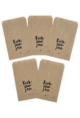 Zoedt Cadeauzakjes set van 5 met dotsen tekst Kook van jou 15x22 cm