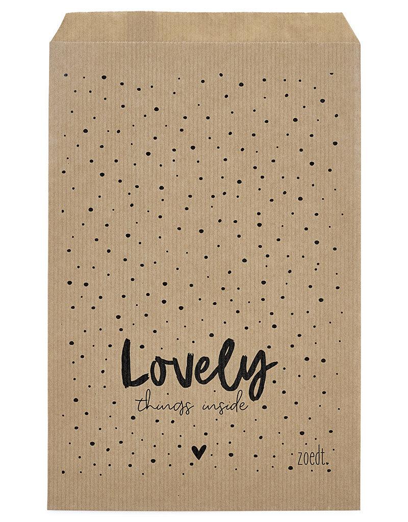 Zoedt Cadeauzakjes set van 5 met dots en tekst Lovely things inside 15x22 cm
