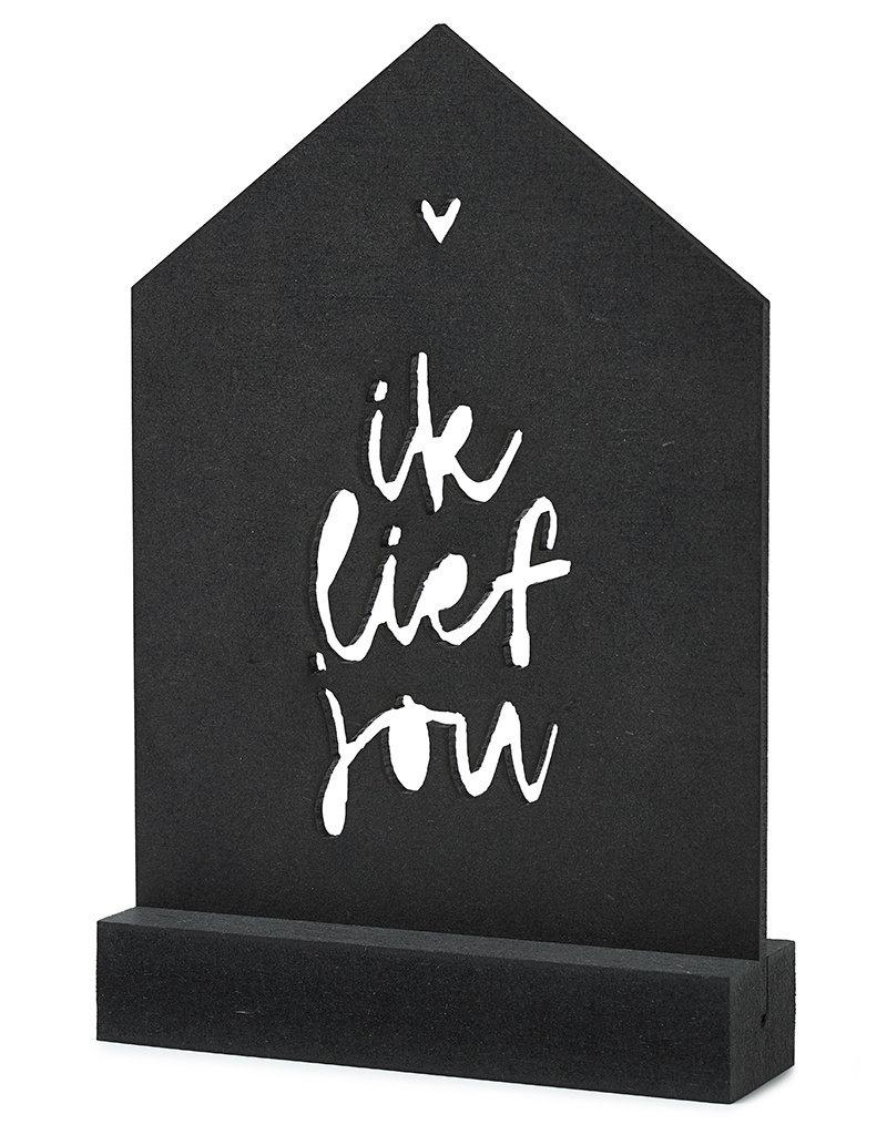 Zoedt Zwarte houten kaart huisje met standaard - Ik lief jou