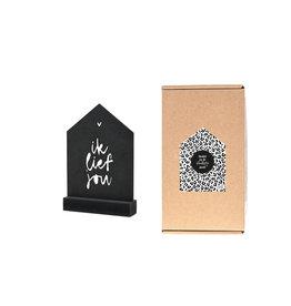 Zoedt Cadeaupakket Omdat jij de leukste bent: zwart houten huisje met tekst Ik lief jou